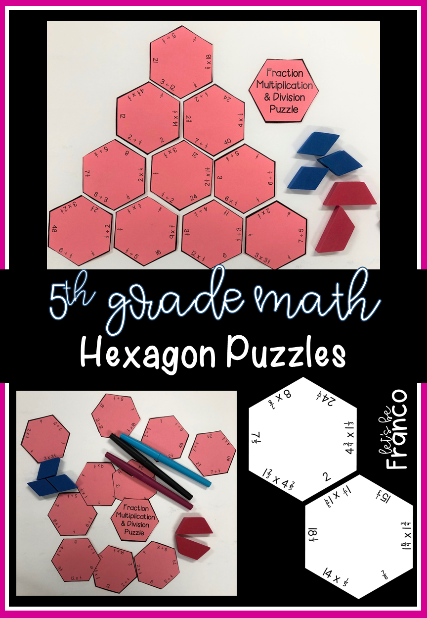 5th Grade Math Hexagon Puzzles 5th Grade Math Math Stations Math Workshop