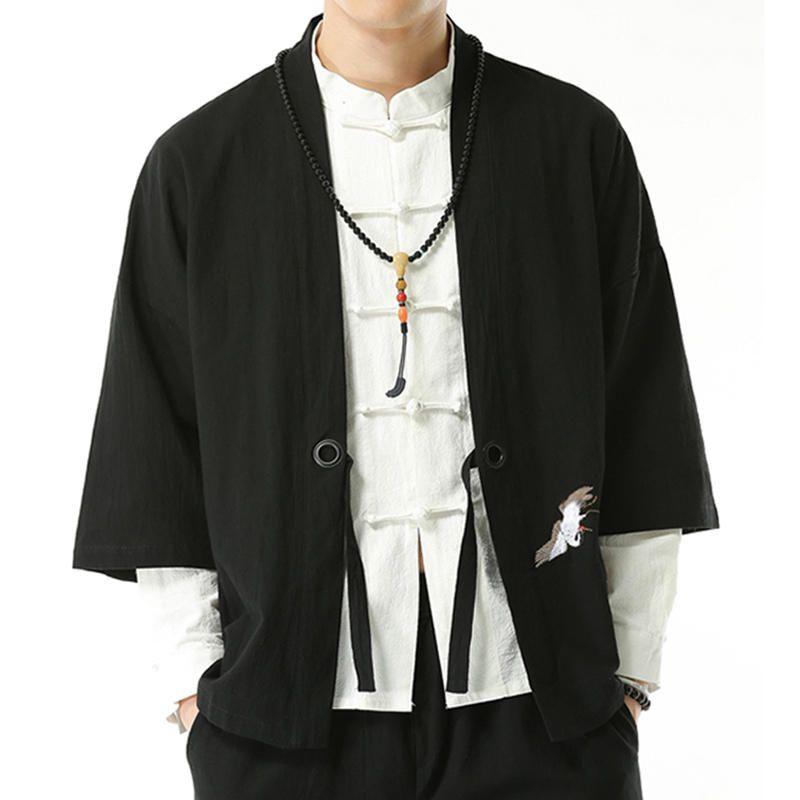 Mens Chinese Style Hanfu Kimono Cotton Blouse Tops Loose Shirts Coat Cardigan US