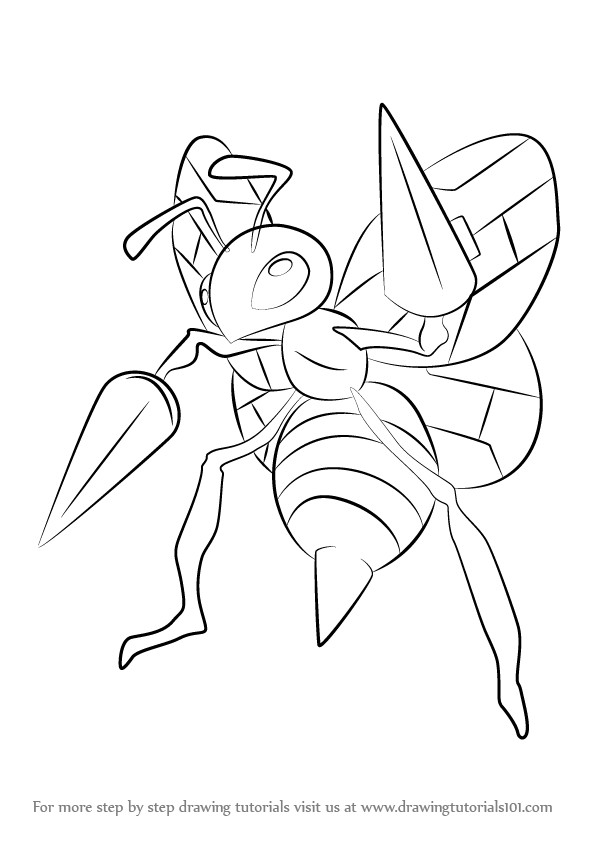 Learn How To Draw Beedrill From Pokemon (Pokemon) Step By Step : Drawingu2026