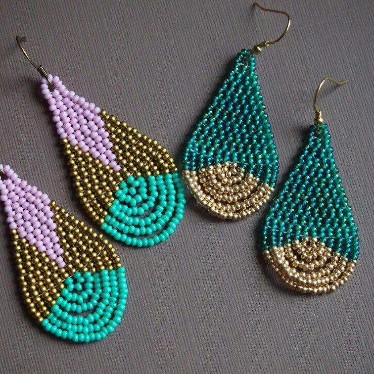 Ab Teal And Light Gold Seed Bead Teardrop Earrings Gold Etsy
