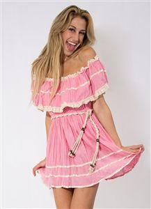 Pink Ruffle Dress #Party #PartyDress #DayDress #Fiesta #Ruffles #Pink #PinkDress #Braids #Belt #MiniDress #Style #Fashion #Downtown #LosAngeles #Wholesale #StylishWholesale