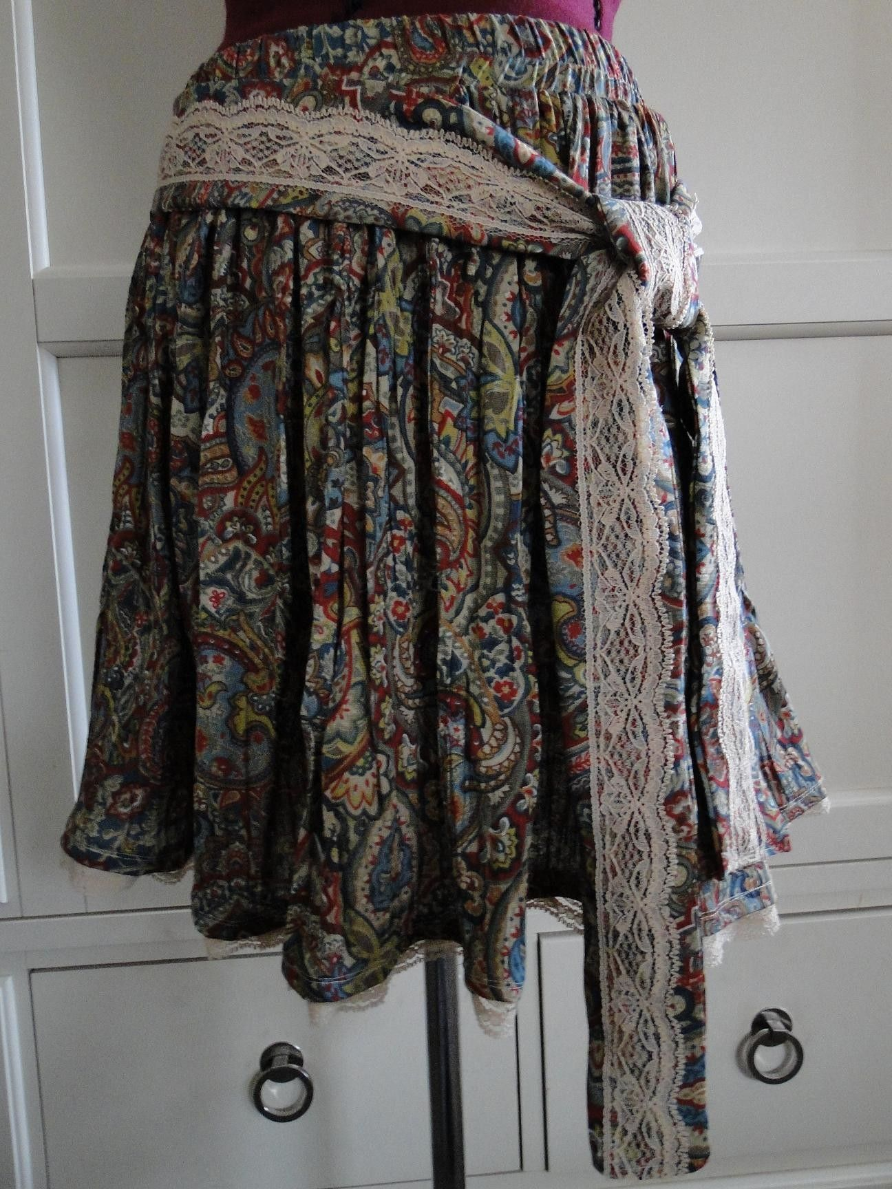 Victorian  Bohemian Paisley Upcycled Short Skirt With Vintage Lace. $45.00, via Etsy.