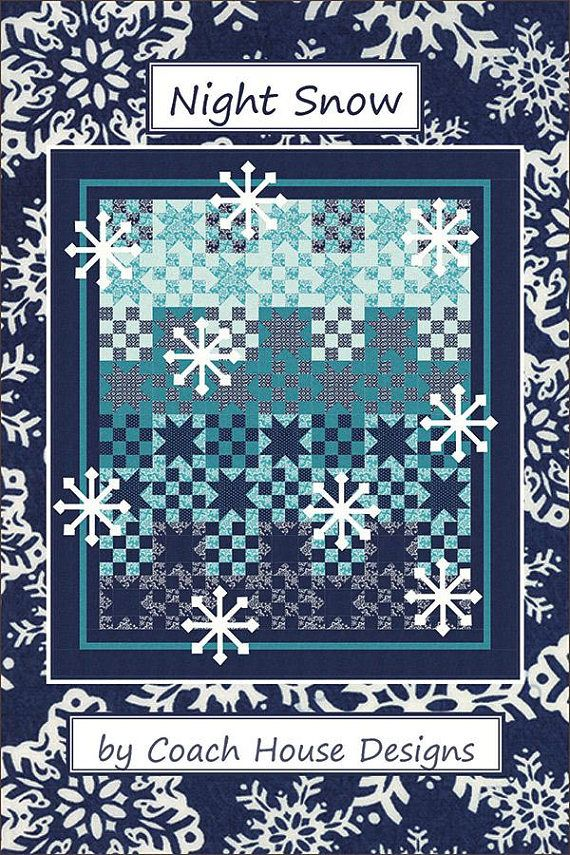 Night Snow Quilt Pattern Winter Snowflake Quilt Pattern | Quilting ... : snow quilts - Adamdwight.com