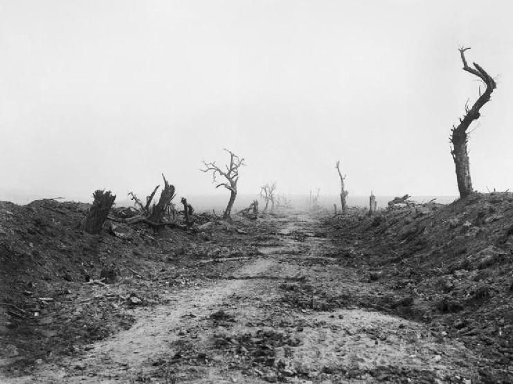 """""""The road to Guillemont during the Battle of the Somme in 1916. My Great Grandfather Frank Smith crossed this road on 18th August 1916 and was wounded soon after."""" Pin by Steve Smith."""