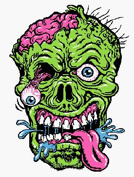 "Zombie Woman Head Cartoon Car Bumper Sticker Decal 5/"" x 5/"""