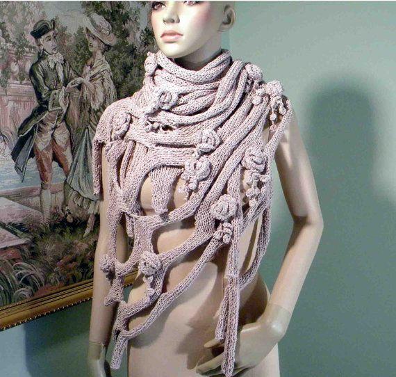 FISHNET SHAWL/WRAP - Wearable Fiber Art, Extra Large, Elegant & Trendy, Freeform Crocheted Floral Embellishments, Top Quality Italian Cotton