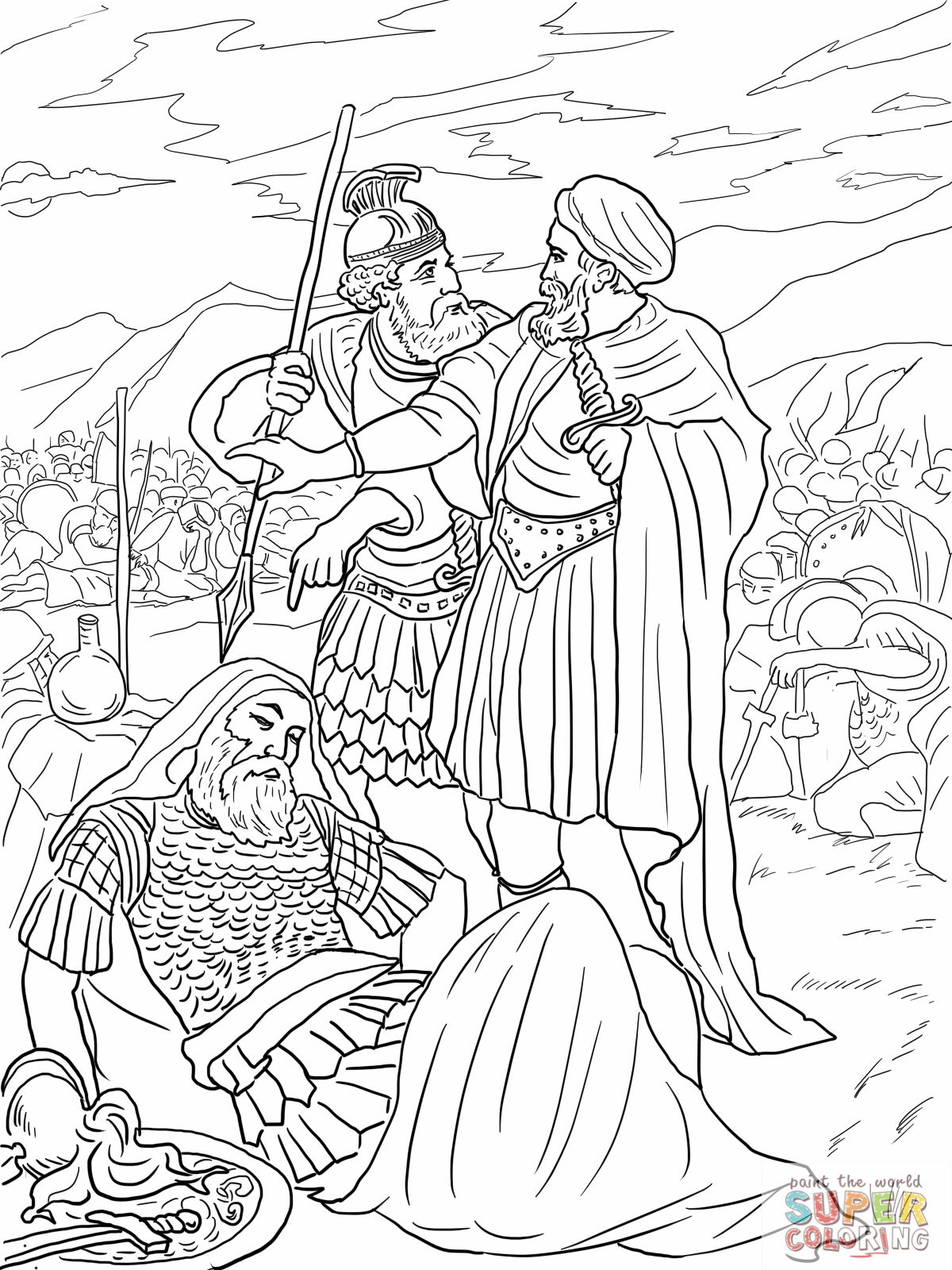 4 David Spares King Saul Coloring Page