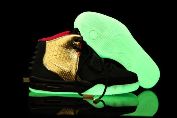 221bfdb366972 Nike Air Yeezy 2 Sneaker Night Light Black Gold Men s Shoes