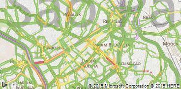 A imagem do Bing Mapas com informações de tráfego