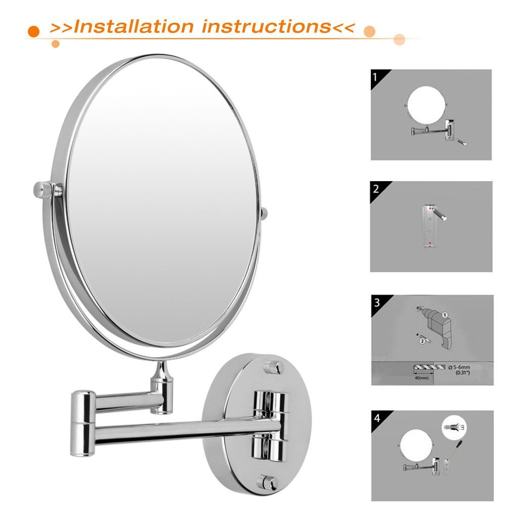 Excelvan 8 Inch Doublesided Swivel Wall Mount Makeup Mirror 12 Inch Extension Polished Chrome Fin Wall Mounted Makeup Mirror Magnification Mirror Makeup Mirror