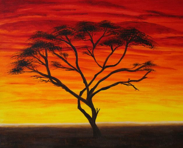 Acrylmalerei Akazie Im Sonnenuntergang Art Painting Tree