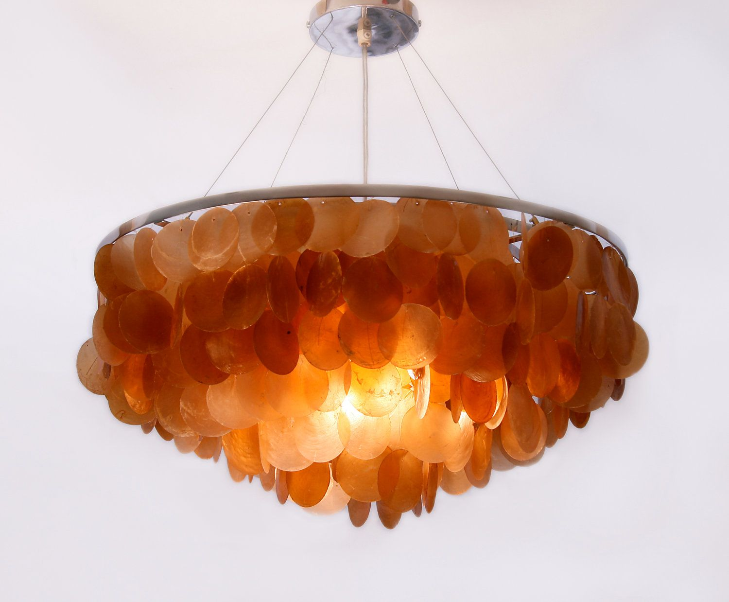 Shell Lighting Orange Capiz Ceiling Light Earth Tones