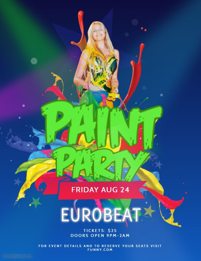 blue and green paint night euro flyer template paint night flyer