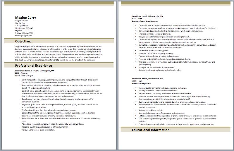 hotel sales manager job description