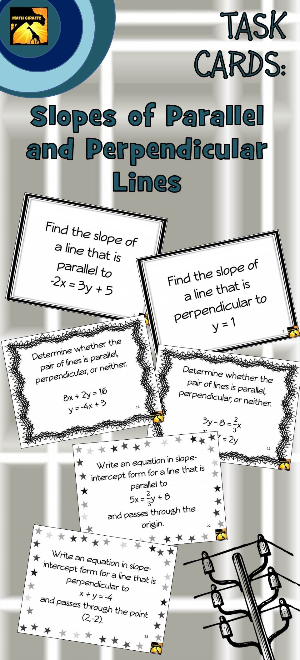 Differentiated Set Of 30 Algebra Task Cards For Slopes Of Parallel