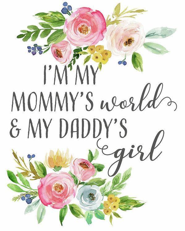 Boho I'm My Mommy's World & My Daddy's Girl Wall Art Print Baby Nursery Decor - 11.250\ x 14.000\ / Archival Matte Paper