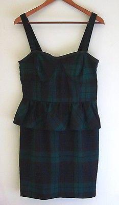 Tommy Girl Tommy Hilfiger Plaid Peplum Dress NWT Green Black size Juniors XL
