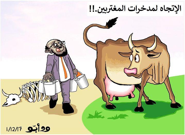 كاركاتير اليوم الموافق 13 يناير 2017 للفنان   ودابو  عن الإنقاذ تعشم في مدخرات المغتربين