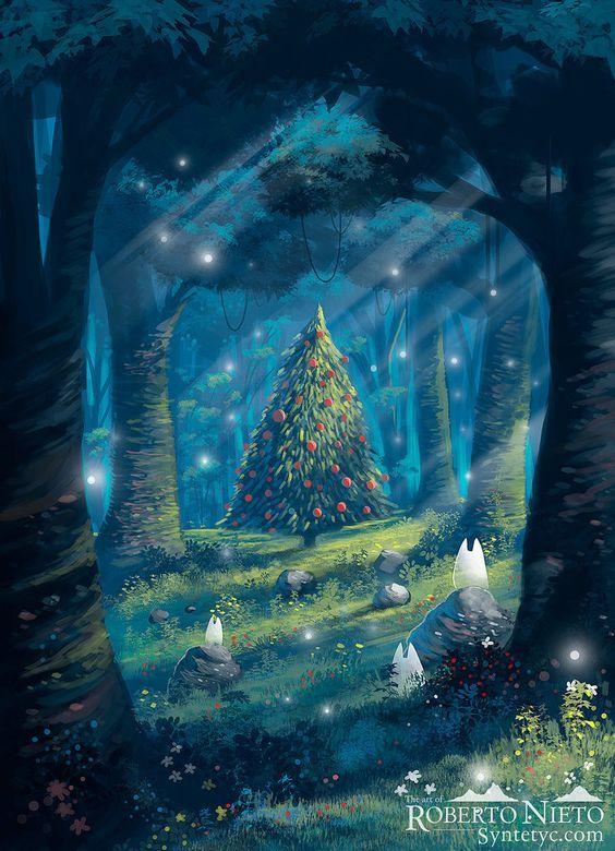 Studio Ghibli France On Twitter Anime Christmas Christmas Landscape Christmas Paintings