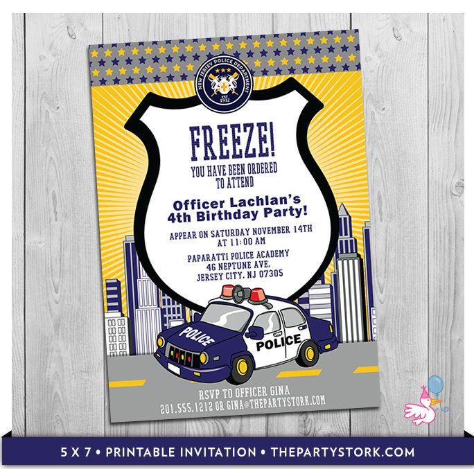 police car invitation  printable personalized boys cop