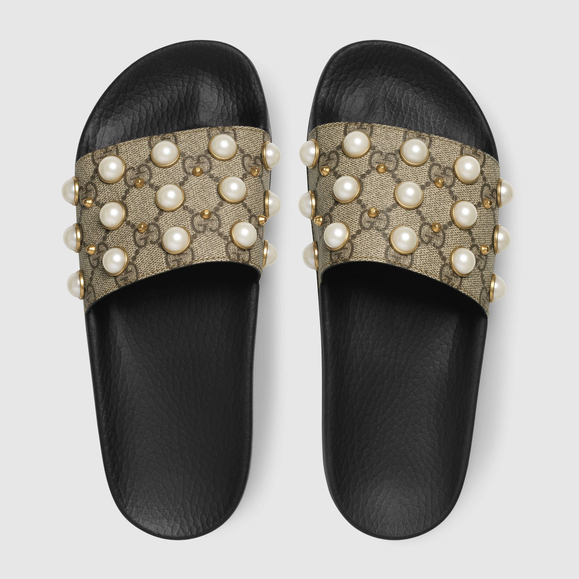 d3e79cd4 Gucci GG Supreme slide with pearls Detail 3 | fashion | Pearl shoes ...