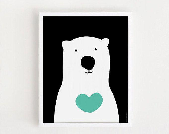 DESCARGAR INSTANT lindo oso niños habitación imprimible arte negro y ...