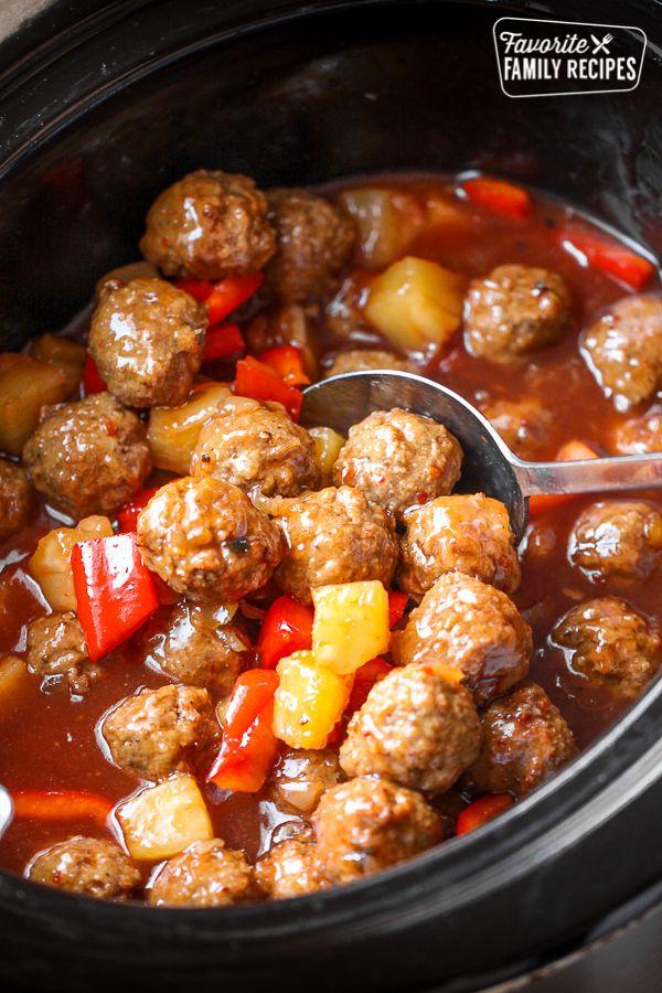 Crock Pot Sweet and Sour Meatballs #crockpotmeals
