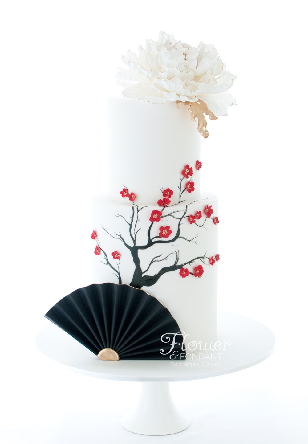 Simple yet stunning Asian themed 70th birthday cake. With a fondant ...