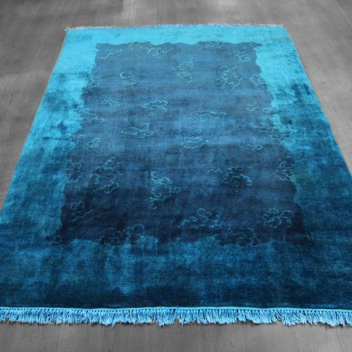5x7 Over-dyed Teal Indigo Wool Rug Woh-2654