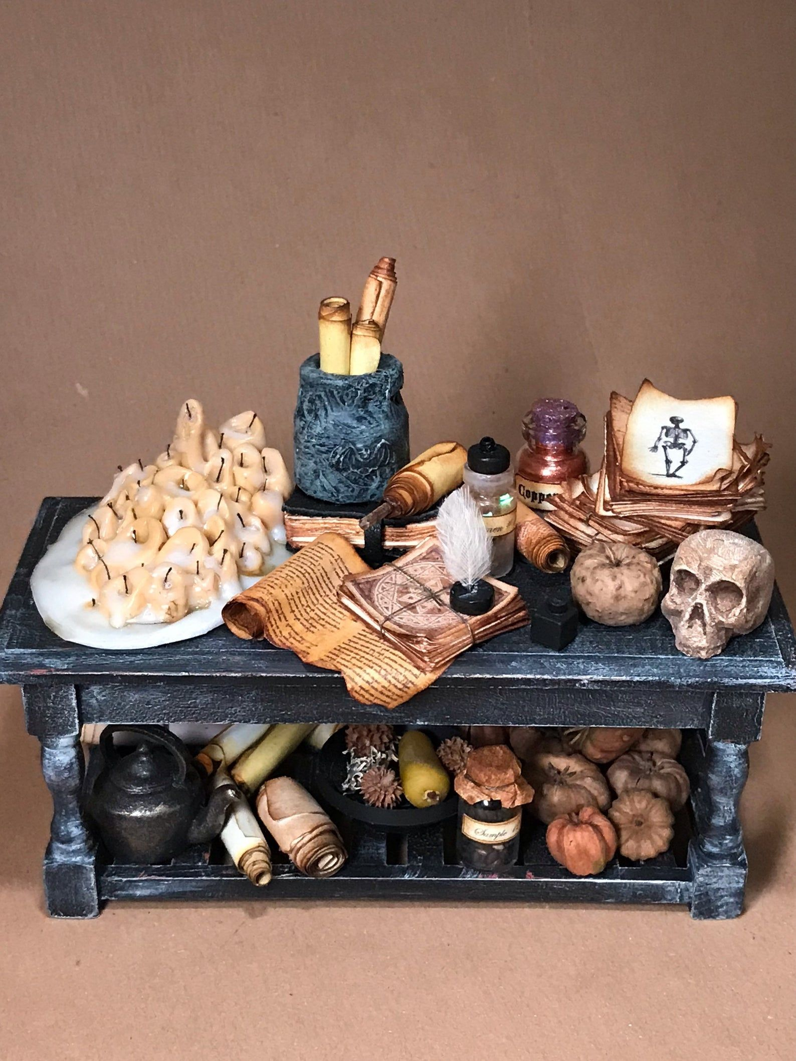 Dollhouse, Miniature, Spooky, Overflowing, Table, Witch, Wizard, Study, Mystical, Spells, Book, Old, Cottage, Haunted, House, 1/12 scale
