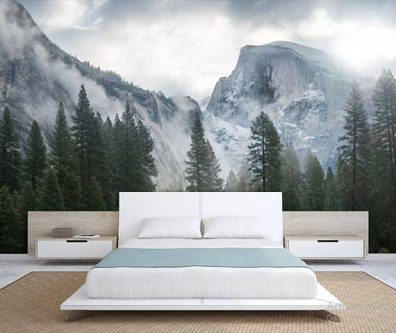 FOREST WALL MURAL snow wall mural nature forest forest Bedroom