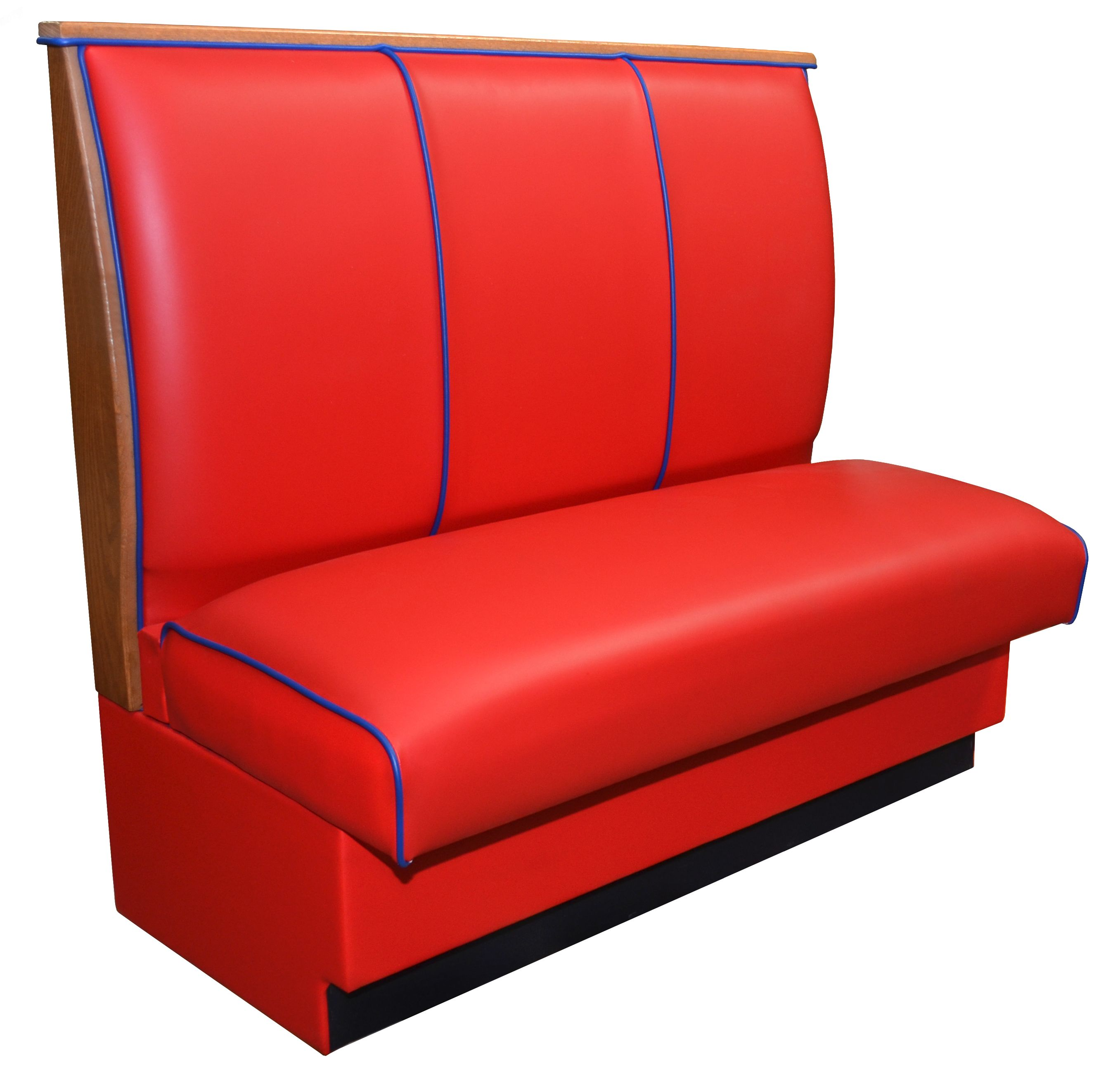 Red Vinyl Restaurant Booth With Blue Piping Restaurant
