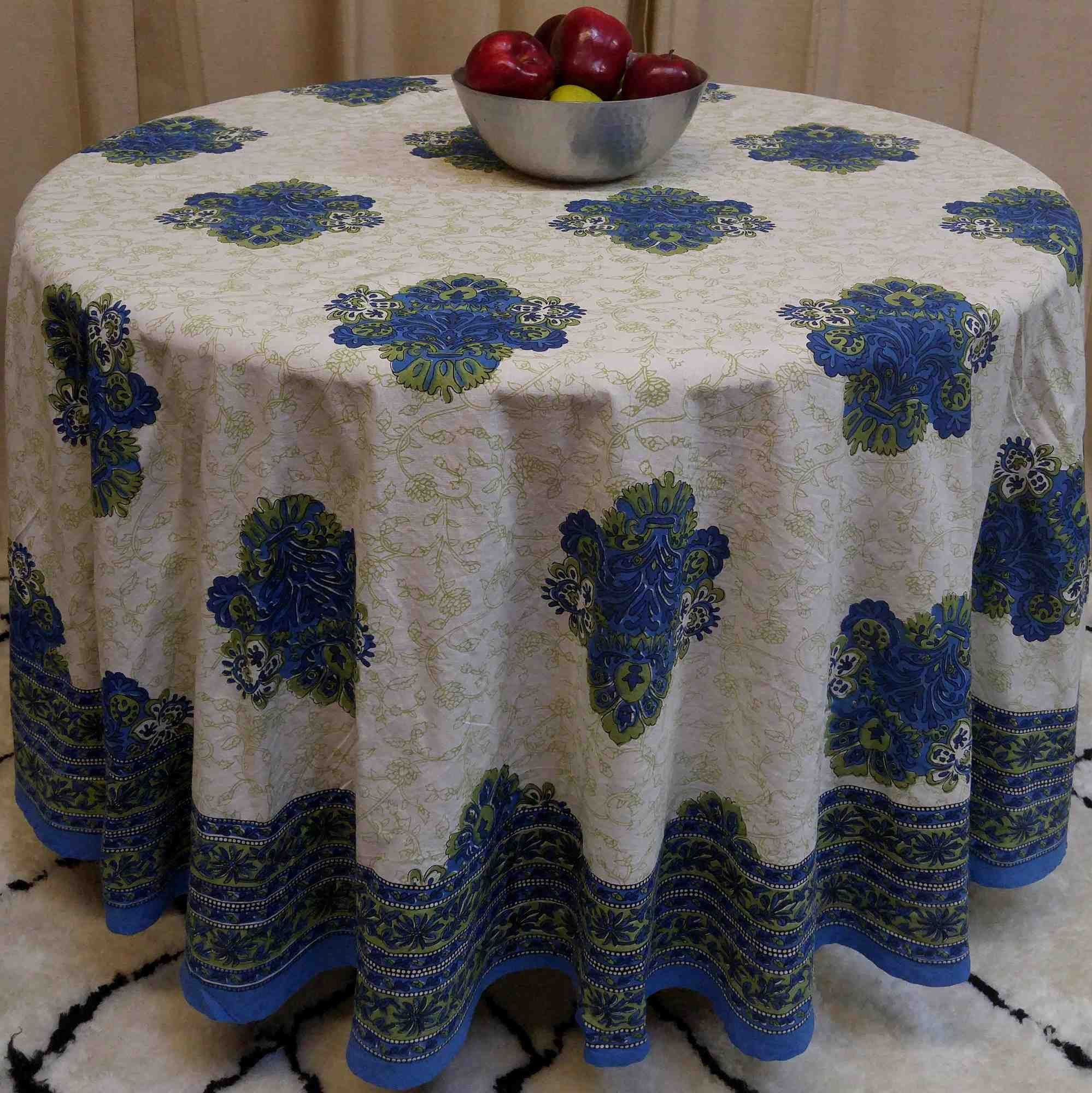 "Handmade 100/% Cotton Floral Tablecloth 90/"" Round Teal Aqua"