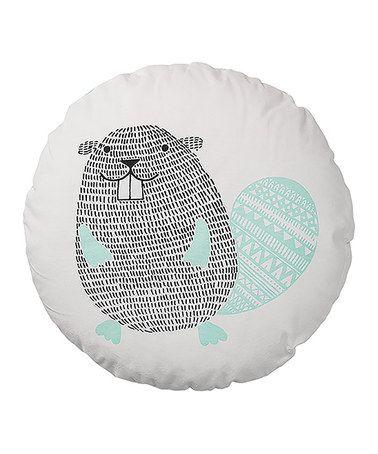 Another great find on #zulily! Mint Beaver Round Cotton Pillow #zulilyfinds