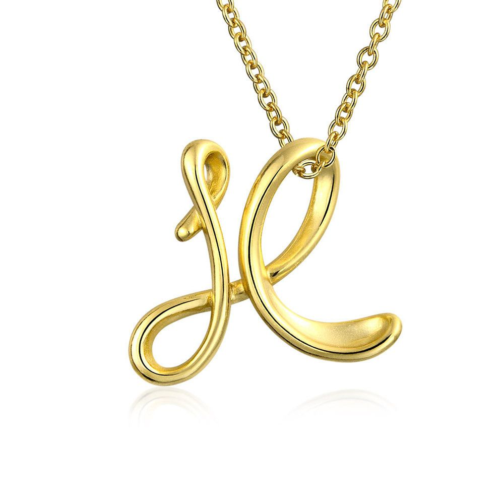 Bling jewelry letter x script initial pendant gold plated necklace