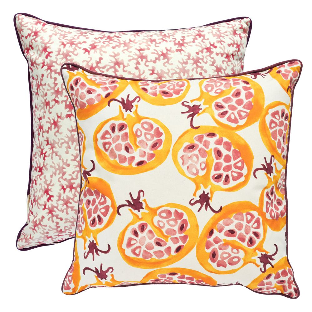 FABULOUS CUSHION COVERS IN EMMA BRIDGEWATER POMMEGRANATE FABRIC BY SANDERSON