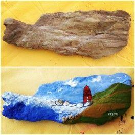 çeşme Hatırası Taş Boyama örneği Taş Stone Painting Stone Art