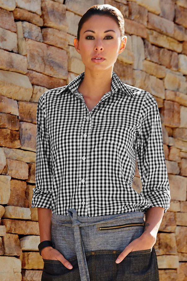 deabb8ac3d New Gingham Black and white check shirt. Buy online at The Chef's Emporium