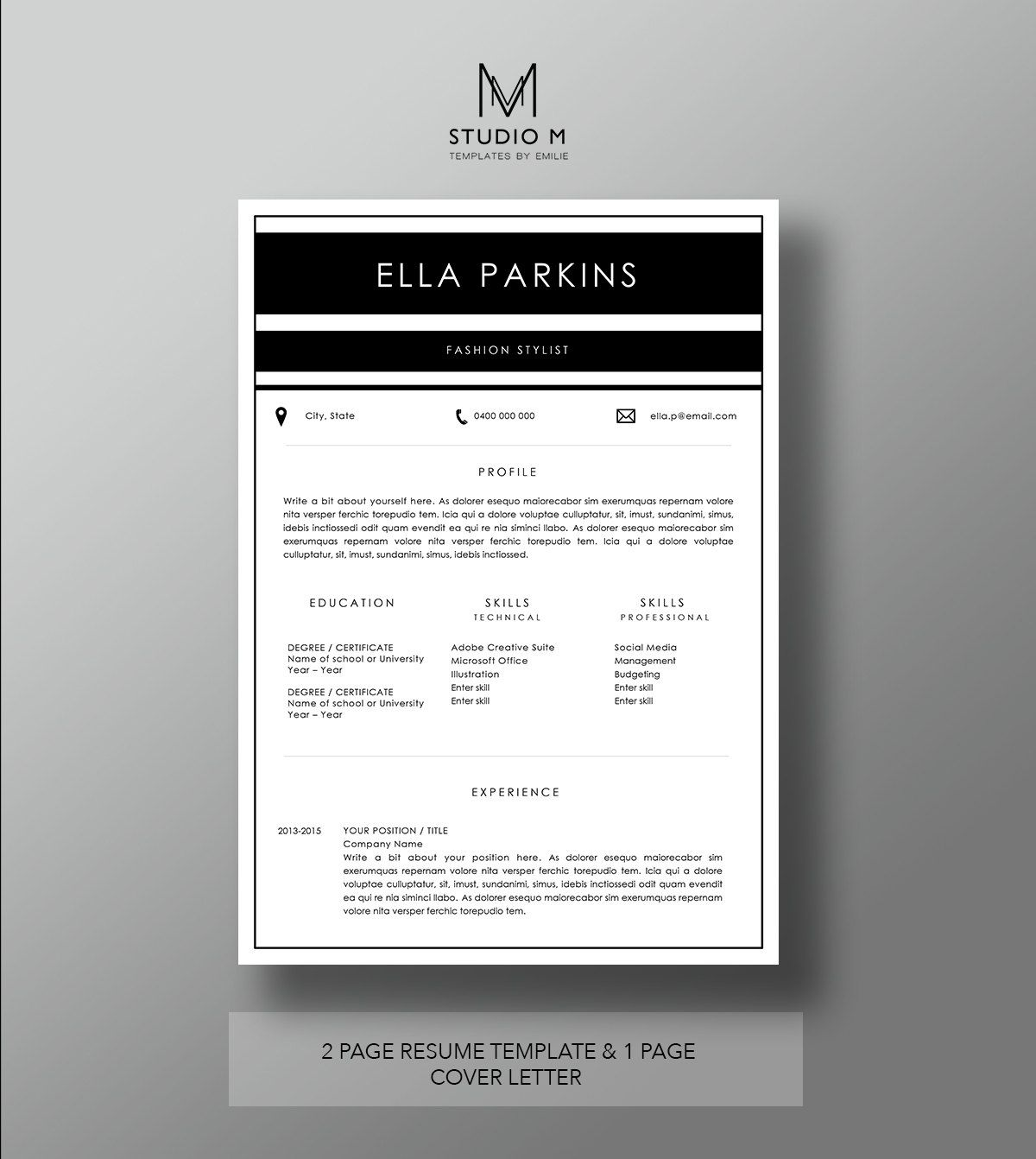 Fonts The u0027Parkinsu0027 Resume Template 2