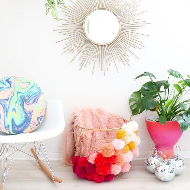 Oh I'm not done adding Pom Poms to all the things. This ombré Pom Pom basket is just the latest in my Pom Pom obsession! You can find the simple tutorial for it over on @abeautifulmess tonight.