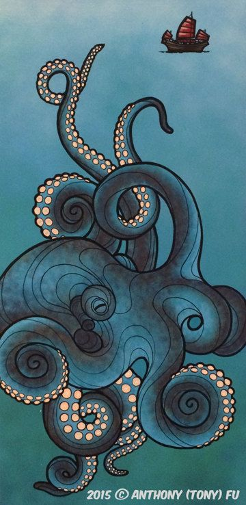 Photo of Items similar to UNTITLED OCTOPUS PAINTING #1 on Etsy