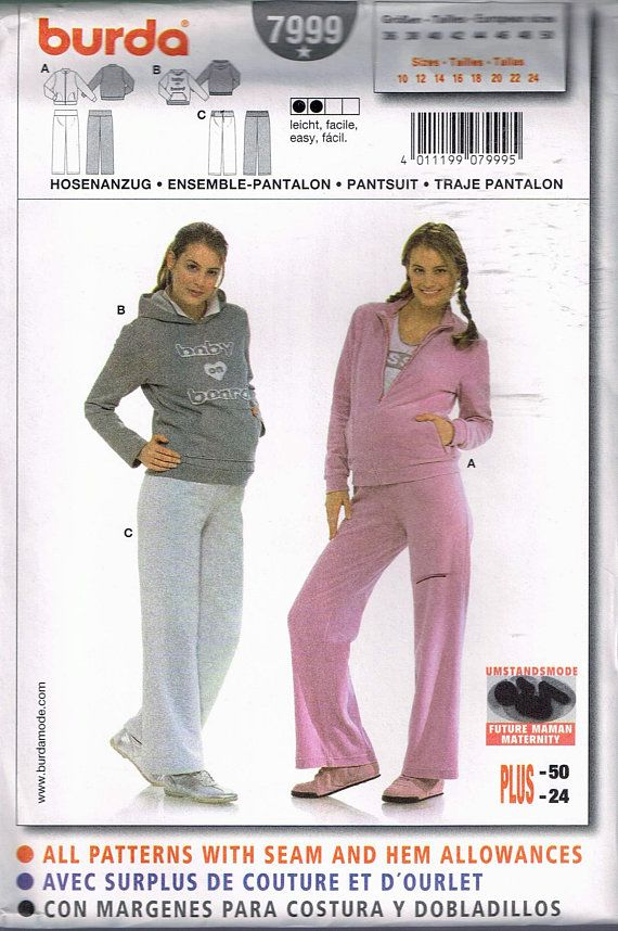 85547abb04c63 Size 10-24 Misses' Easy Maternity Pants & Sweatshirt Sewing Pattern -  Straight Leg Maternity Pant -