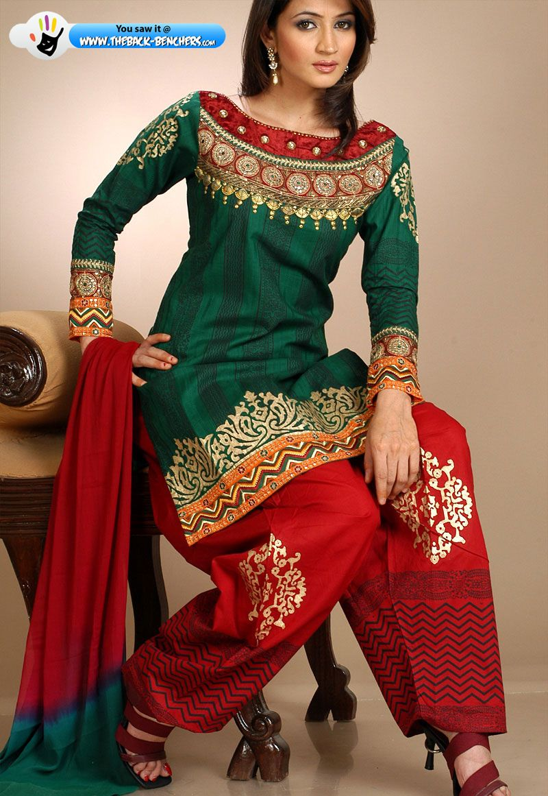 b890363ac3 Red & Green Suit Indian Suits, Indian Attire, Punjabi Suits, Anarkali Suits,