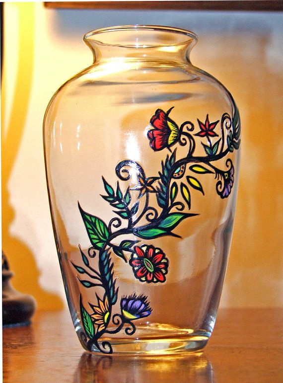 Hand Painted Vase Glass Painting Designs Painting Glassware Painted Glass Vases