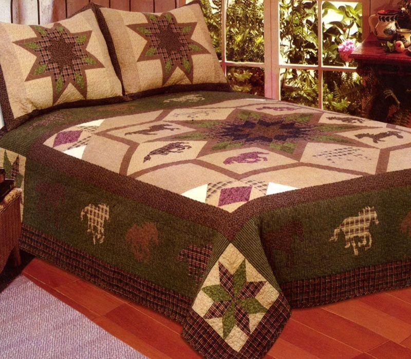 Beautiful Runner Horse Star 3 Pc FULL/ QUEEN QUILT Bedding Set/ Bedspread Western  Coverlet