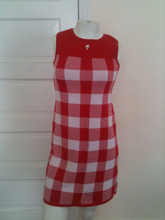 Rare COURREGES 21 Red and White Plaid Knit by OffbeatThreads, $450.00