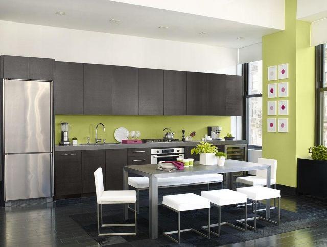 CUISINE peinture cuisine tendance, couleur vert jaune ...
