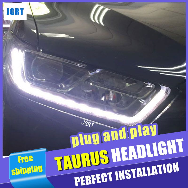 Car Styling Headlights 2015 2016 For Ford Taurus Doubleu Angel Eye Led Drl Lens Double Beam H7 Hid Xenon Bi Xenon Lens Car Lights Installation Lights