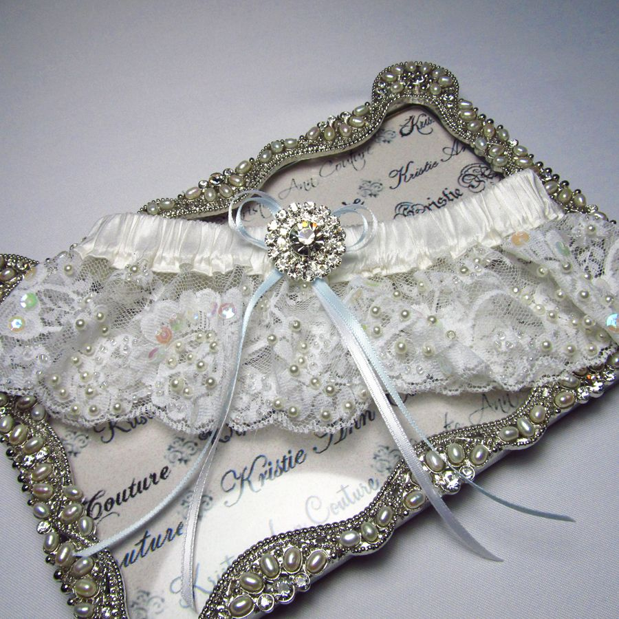 Couture Garters For Wedding: Couture Beaded Lace Garter With Sparkling Brooch $56.95
