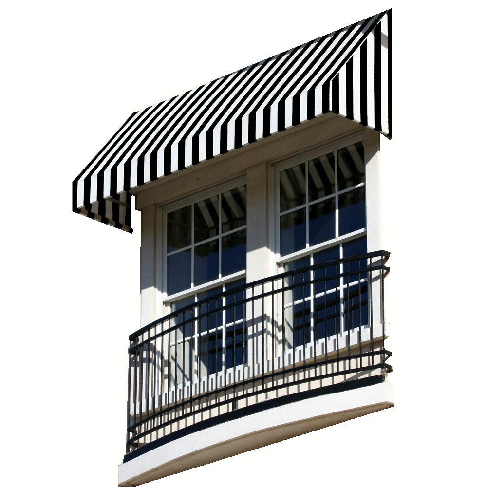 Awntech 5 38 Ft Wide New Yorker Window Entry Awning 24 In H X 36 In D Black White Nk23 5kw The Home Depot In 2020 Awning Window Awnings Patio Awning